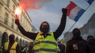 Protesters march during a nationwide strike in Paris, France, 5 February 2019