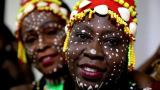 "Members of the Congolese Cultural Dance Group pose for photographs as they get ready backstage before they present ""Ballet National Du Congo"" in Bhopal, India, 29 May 2017. The cultural program of African Dance and Music Performance was organized by the Indian Council for Cultural Relations"