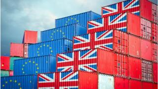 Northern Ireland Shipping containers marked with EU and union flags