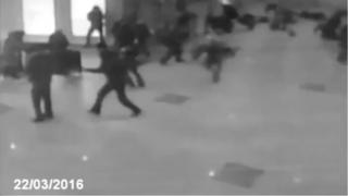 This still from a video shows a bomb explosion at Domodedovo airport in Russia, in 2011 and is not a picture from Zaventem airport as some claimed on social media