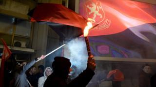 Supporters of the VMRO_DPMNE celebrate after preliminary results in Skopje. 11 December 2016