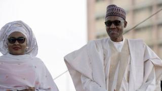 Aisha Buhari (left) and Muhammadu Buhari (right)