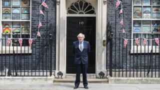 Boris Johnson outside No 10