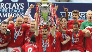 Ryan Giggs of Manchester United squad lifts the Premiership trophy after the Barclays FA Premier League match between Wigan Athletic and Manchester United at the JJB Stadium on May 11 2008, in Wigan, England.