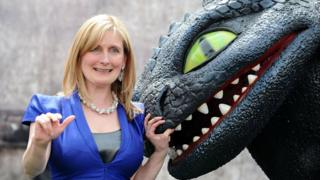 Cressida Cowell with 'Toothless' from the How To Train Your Dragon films