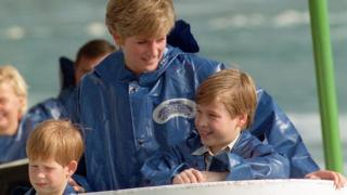The Princess of Wales with her sons Prince Harry and Prince William in 1991