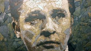 Richard Burton portrait made out of Welsh slate