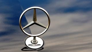 The logo of Mercedes Benz car of German auto giant Daimler