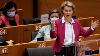 Ursula von der Leyen in the European Parliament on 27 May