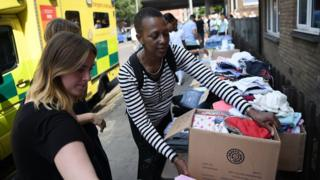 People sort through donations