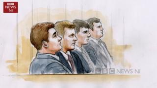 Court sketch of (L-R) Paddy Jackson, Stuart Olding, Rory Harrison, Blane McIlroy, Rory Harrison
