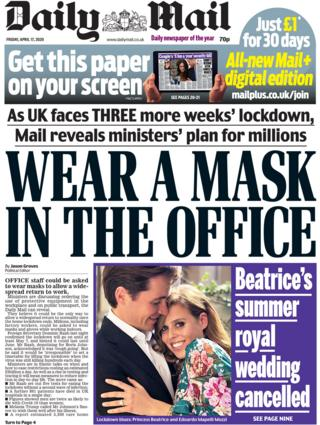 Daily Mail front page, 17/4/20