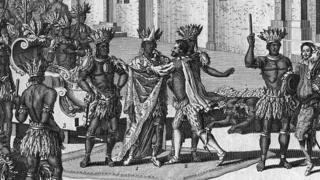 Circa 1518, Spanish explorer Hernando Cortez meets Montezuma, king of the Aztecs.