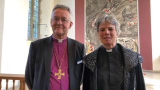 Cherry Vann with the Archbishop of Wales, John Davies