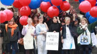 Londra'da sanatçıların eylemi.