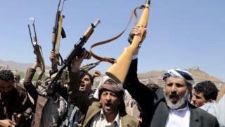Houthi Rebels in Sana'a, Yemen in September 2019