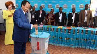 President Paul Biya dey confident say na him go win di Sunday election.