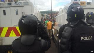 Police line stopping anti-internment parade
