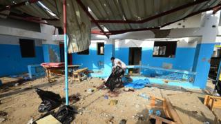 MSF-run hospital in Abs, in the rebel-held northern province of Hajjah, after it was hit apparently by a Saudi-led coalition air strike in 2017