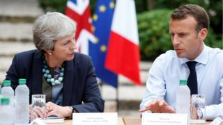 Theresa May and Emmanuel Macron on 3 August