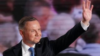 Andrzej Duda waving to supporters