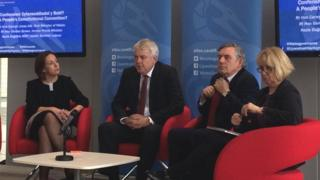 Kezia Dugdale, Carwyn Jones and Gordon Brown at constitutional convention meeting