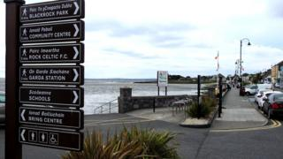 Northern Ireland Visitor attraction signage along the promenade in Blackrock, Dundalk, County Louth, Ireland.
