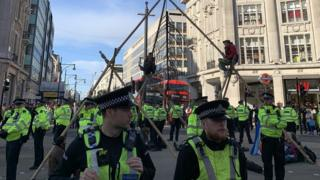 Protests against Extinction Rebellion at Oxford Circus