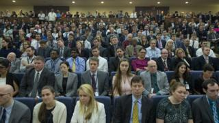 State Department employees listen to US Secretary of State Rex Tillerson deliver an address at the State Department in Washington, DC, USA, 03 May 2017.