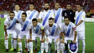 Guatemala's players pose for a team photo ahead of their FIFA World Cup 2018 qualifier football match against Trinidad and Tobago on September 2, 2016.