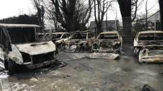 Photo of burnt out cars