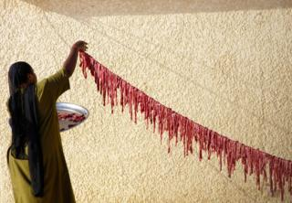 A woman hangs raw beef on a line outside