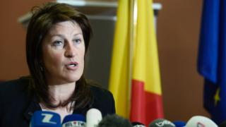 Belgian Minister Jacqueline Galant in Brussels (15 April 2016)