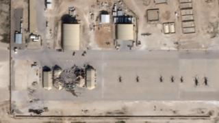 Satellite images showing damage and destroyed structures at Al Asad base, Iraq
