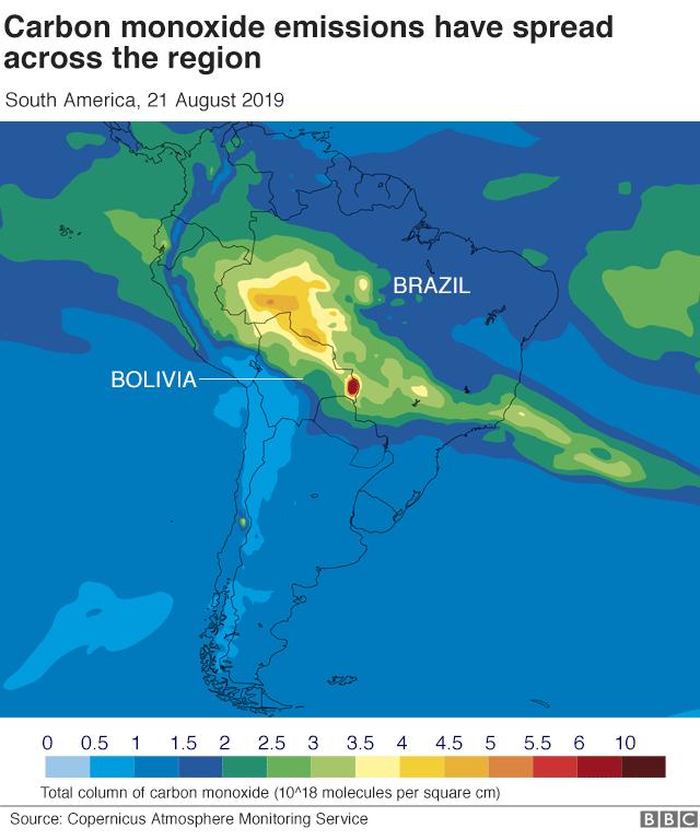 亞馬遜大火碳排放圖示