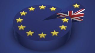 Пирог с флагом ЕС, от которого отрезан кусок с флагом Британии