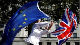 A man waves EU and union flags at Westminster in London