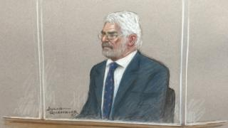 Court drawing of Max Clifford on trial at Southwark Crown Court, 27 June 2016