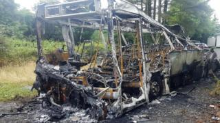 Bus destroyed by fire
