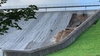 Parts of the Toddbrook reservoir dam were damaged by the flooding