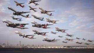 Montagem de fotos de aviões