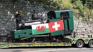 Swiss train Loco No 2 with Welsh and Swiss flags