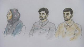 Artist's impression of the defendants in court