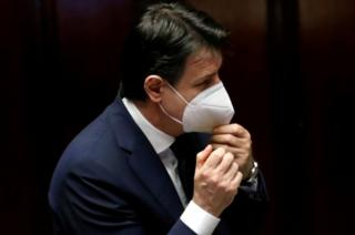 Italian Prime Minister Giuseppe Conte wears a face mask in Rome, Italy, on 21 April, 2020.