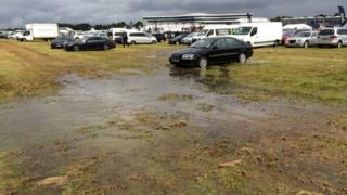 The flooded Farnborough International Air Show site