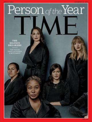 "Time magazine cover honouring ""The Silence Breakers"" as collective Person of the Year"
