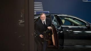 Tim Barrow, the UK Permanent Representative to the EU, arrives at the Europa building in Brussels