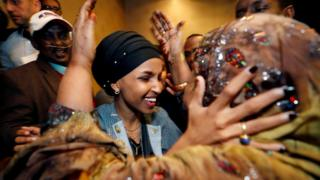 US Democratic congressional candidate Ilhan Omar is greeted by her husband's mother after appearing at her midterm election night party in Minneapolis, Minnesota, US - 6 November 2018