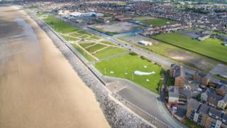 An aerial picture of Aberavon seafront where the house and shops will be built