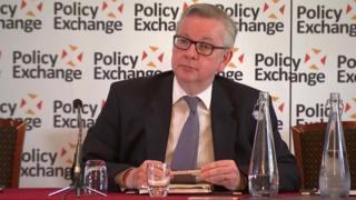 Michael Gove speaking in London